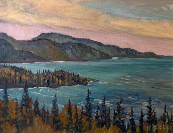 Painting of Old Woman Bay on Lake Superior by Lawrence Nickle