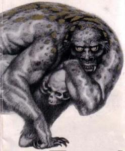 Grendel, as all-too-humanly imagined for the cover of John Gardner's novel.